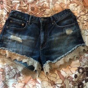 FP denim shorts with brown lace trim